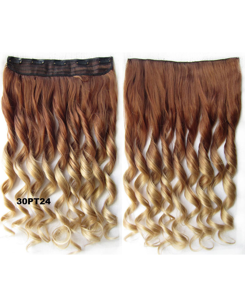 24 Inch Women Well-done Body Wave Curly Long One Piece 5 Clips Clip in Synthetic Hair Ombre  30PT24