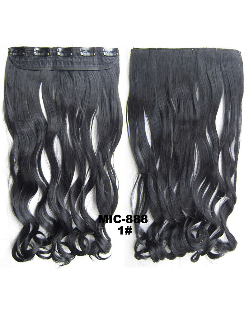 24 Inch Women Winsome Body Wave Curly Long One Piece 5 Clips Clip in Synthetic Hair 1# 100g