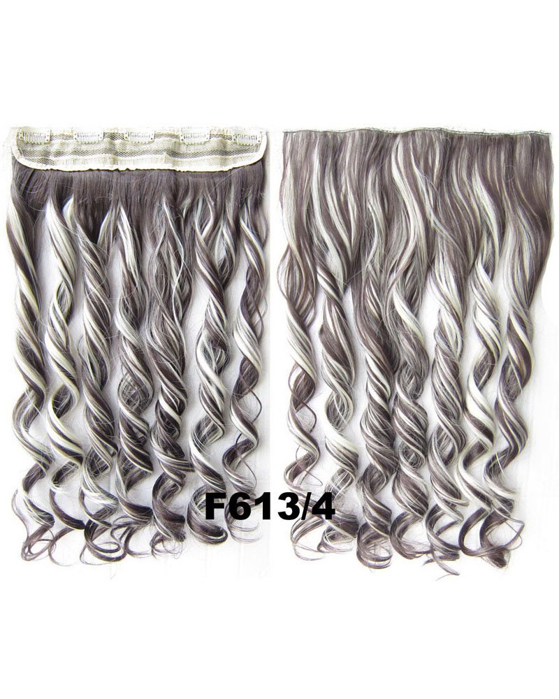 24 Inch Women Wonderful Body Wave Curly Long One Piece 5 Clips Clip in Synthetic Hair Extension