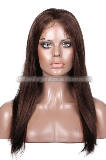 18 Inch Light Yaki Mixed Brown Indain Remy Hair Full Lace Wigs