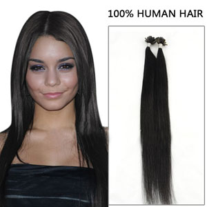 26 Inch 100s Captivating Straight Nail/U Tip Human Hair Extensions #1 Jet Black 50g