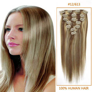 26 Inch #12/613 Clip In Remy Human Hair Extensions 7pcs