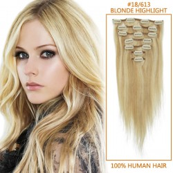26 Inch #18/613 Blonde Highlight Clip In Remy Human Hair Extensions 7pcs