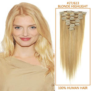 26 Inch #27/613 Blonde Highlight Clip In Remy Human Hair Extensions 7pcs