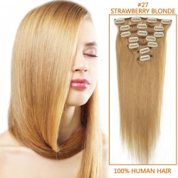 26 Inch #27 Strawberry Blonde Clip In Remy Human Hair Extensions 7pcs