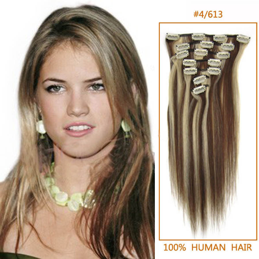26 Inch 4613 Clip In Remy Human Hair Extensions 7pcs