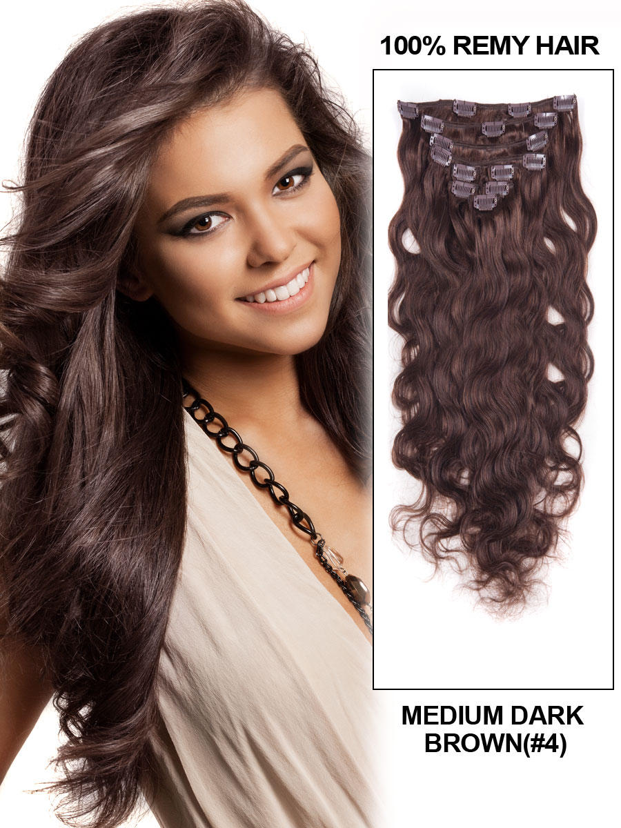 26 Inch 4 Medium Brown Clip In Best Indian Remy Human Hair