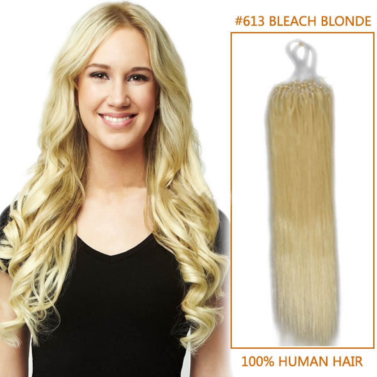26 Inch 613 Bleach Blonde Micro Loop Human Hair Extensions 100s