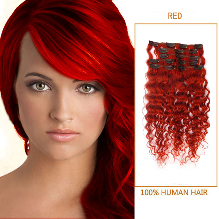 26 Inch Brilliant Red Clip In Human Hair Extensions Curly 7 Pieces