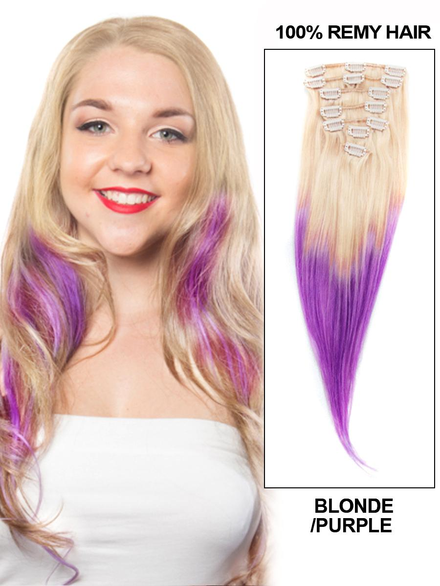 26 Inch Ombre And Fashionable Clip In Hair Extensions Two Tone