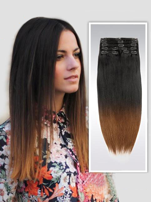 26 Inch Ombre Clean And Funky Clip In Hair Extensions Two Tone