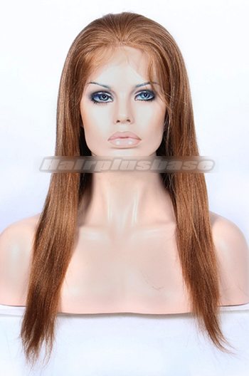 16 Inch Mix Color #27/30 Chinese Virgin Hair Light Yaki Full Lace Wigs