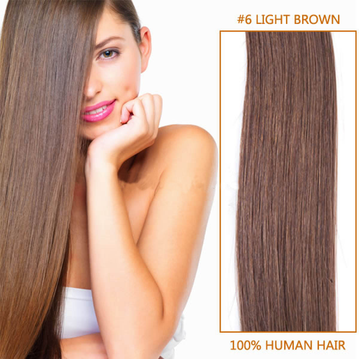 28 Inch 6 Light Brown Clip In Remy Human Hair Extensions 12pcs