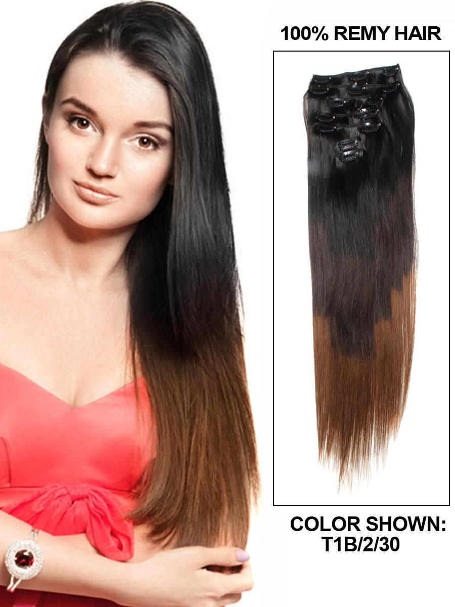 28 Inch Natural Blackdark Brown And Auburn Ombre Clip In Hair