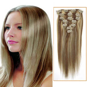 30 Inch #12/613 Clip In Remy Human Hair Extensions 7pcs
