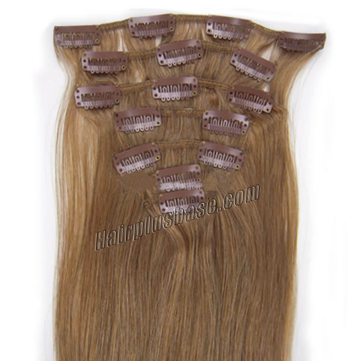 30 Inch 12 Golden Brown Clip In Human Hair Extensions 11pcs