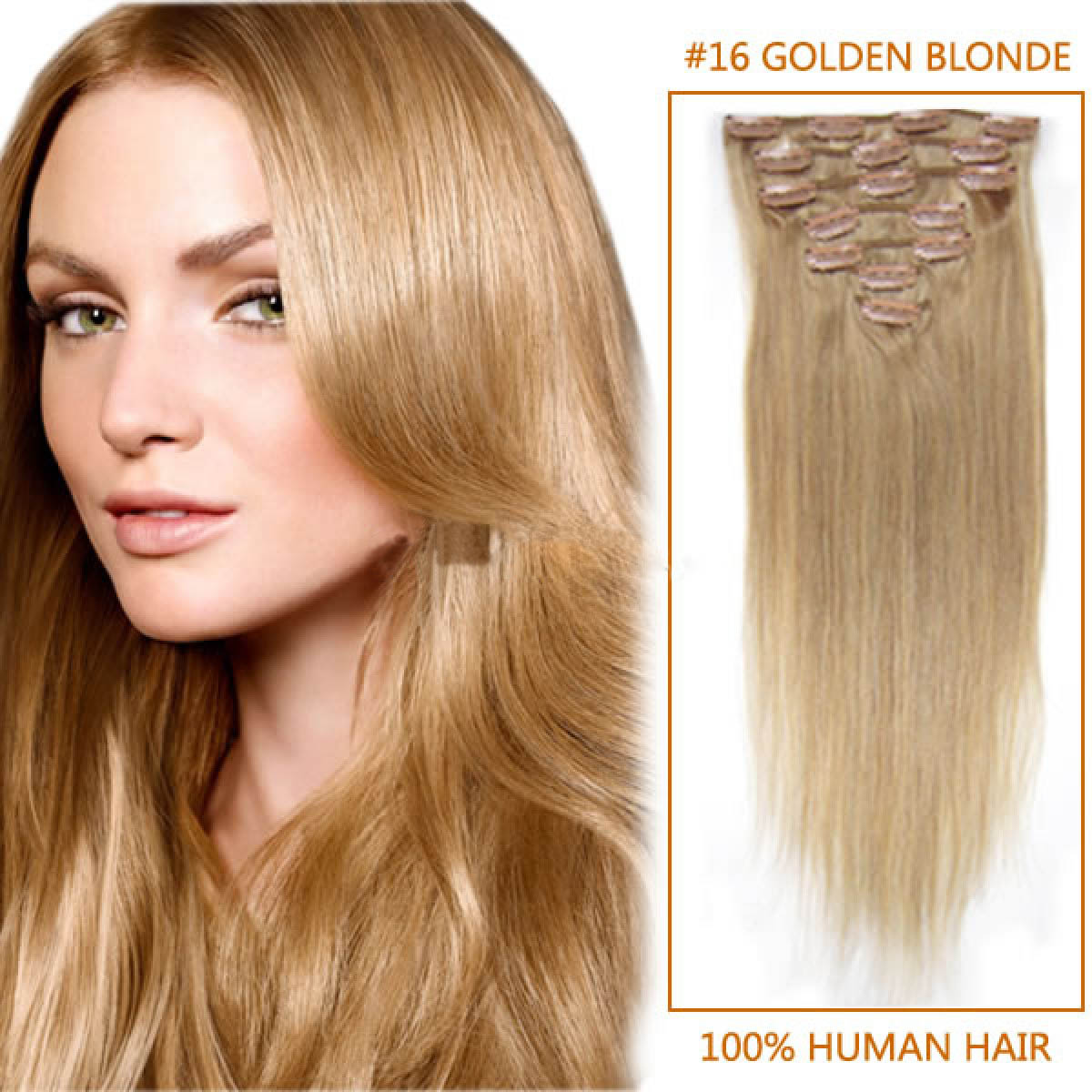 30 Inch 16 Golden Blonde Clip In Human Hair Extensions 8pcs