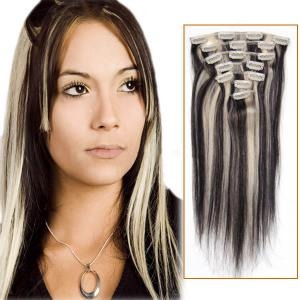 30 Inch #1b/613 Clip In Remy Human Hair Extensions 7pcs