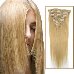 30 Inch #24 Ash Blonde Clip In Remy Human Hair Extensions 7pcs
