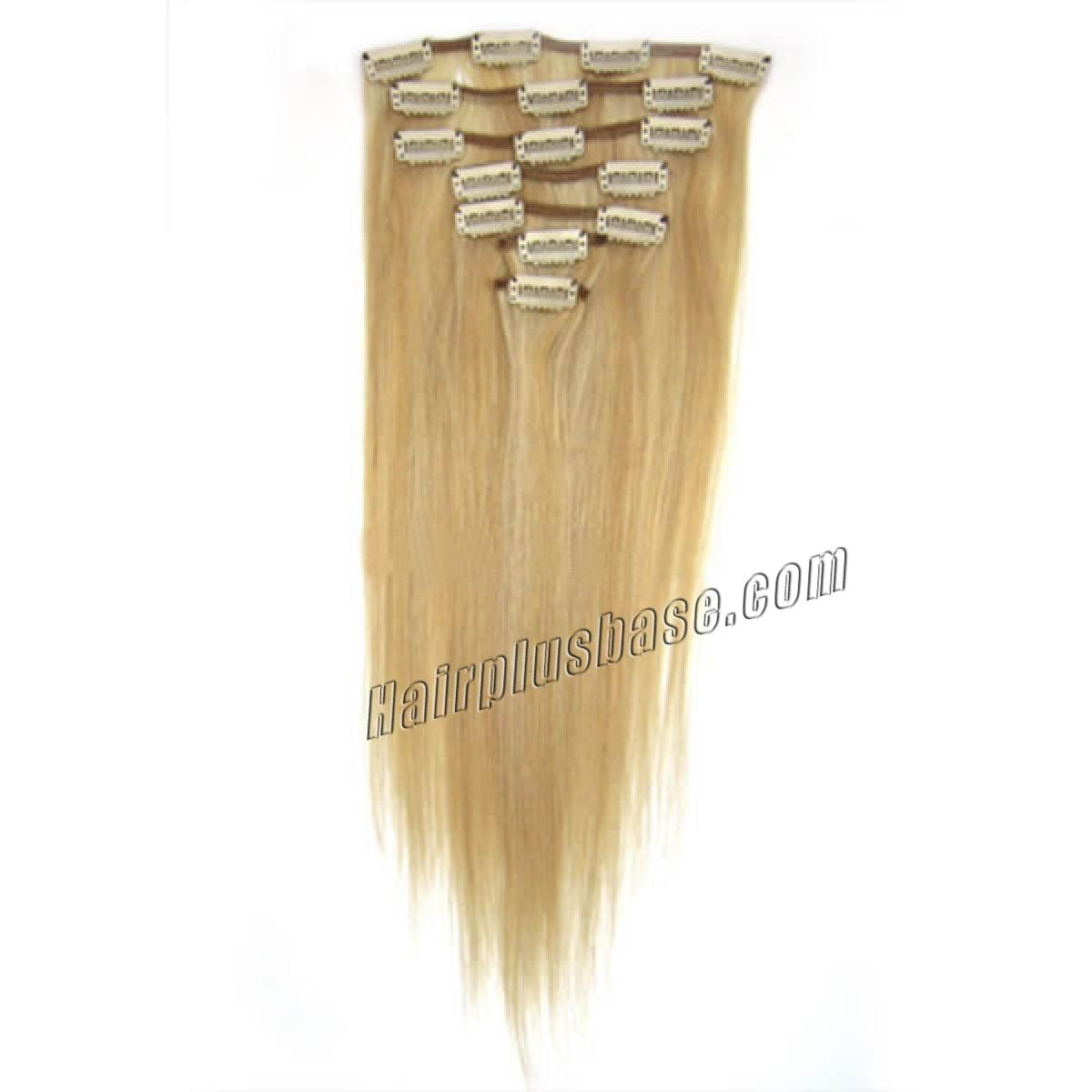 30 Inch 27613 Blonde Highlight Clip In Human Hair Extensions 8pcs