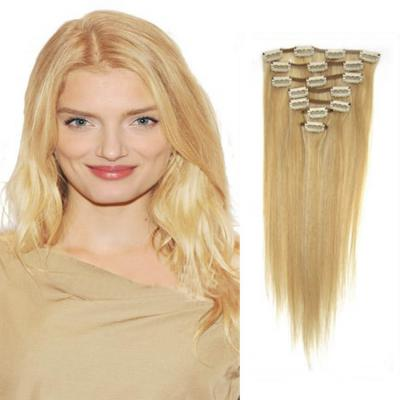 30 Inch #27/613 Blonde Highlight Clip In Remy Human Hair Extensions 7pcs