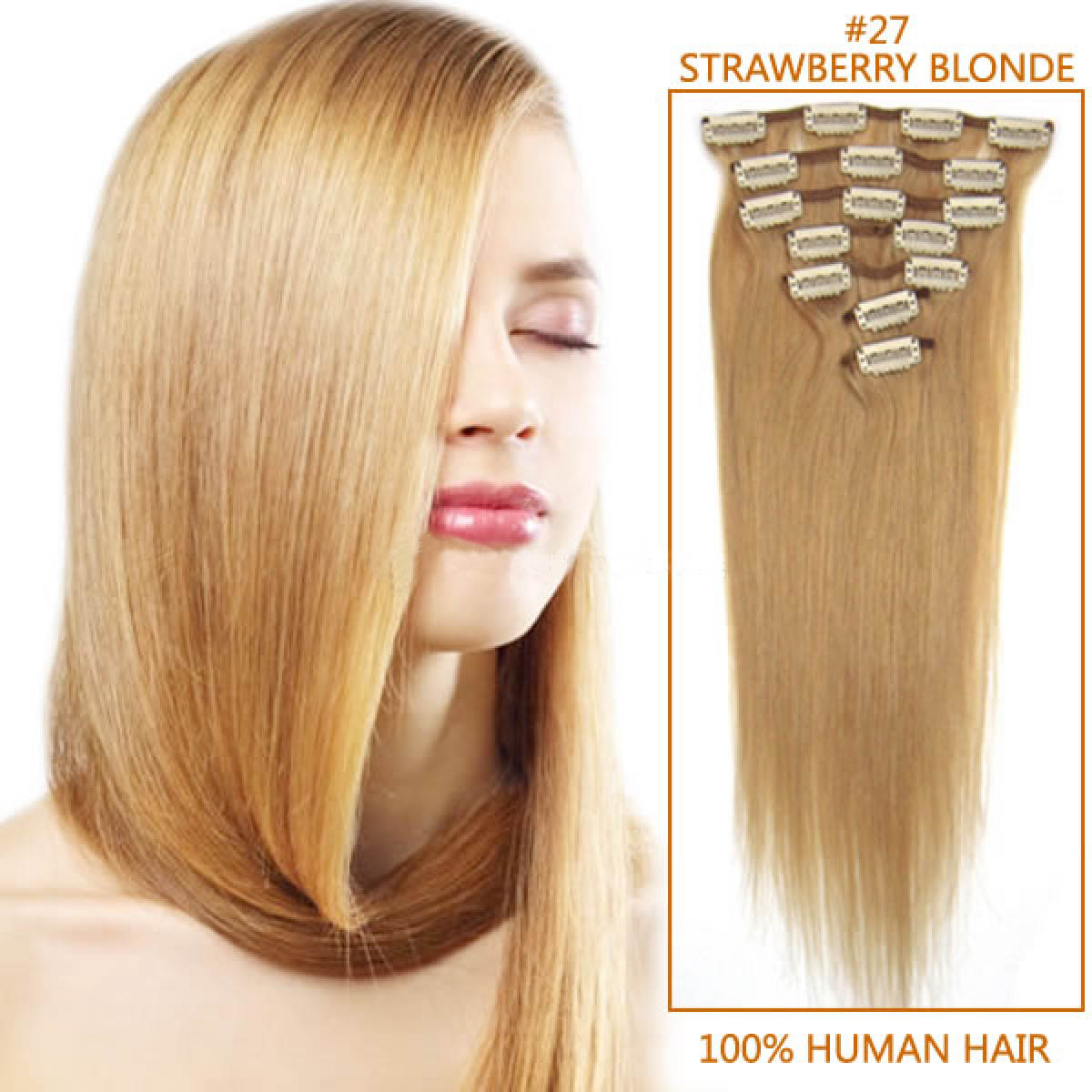 30 Inch 27 Strawberry Blonde Clip In Remy Human Hair Extensions 9pcs