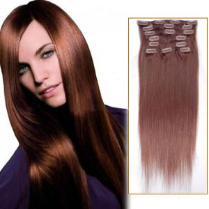 30 Inch #33 Dark Auburn Clip In Remy Human Hair Extensions 7pcs