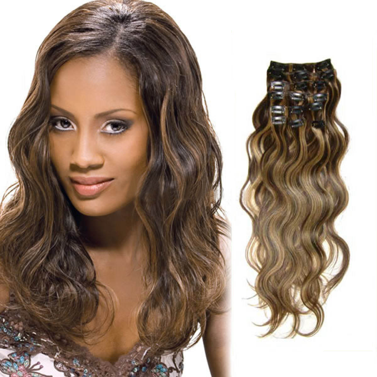 30 Inch 427 Brownblonde Magic Clip In Hair Extensions Body Wave 7 Pcs