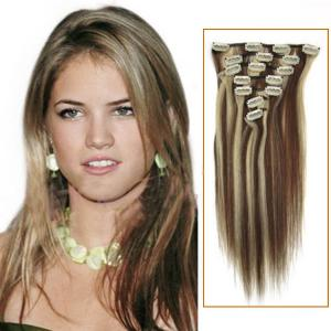 30 Inch #4/613 Clip In Remy Human Hair Extensions 7pcs