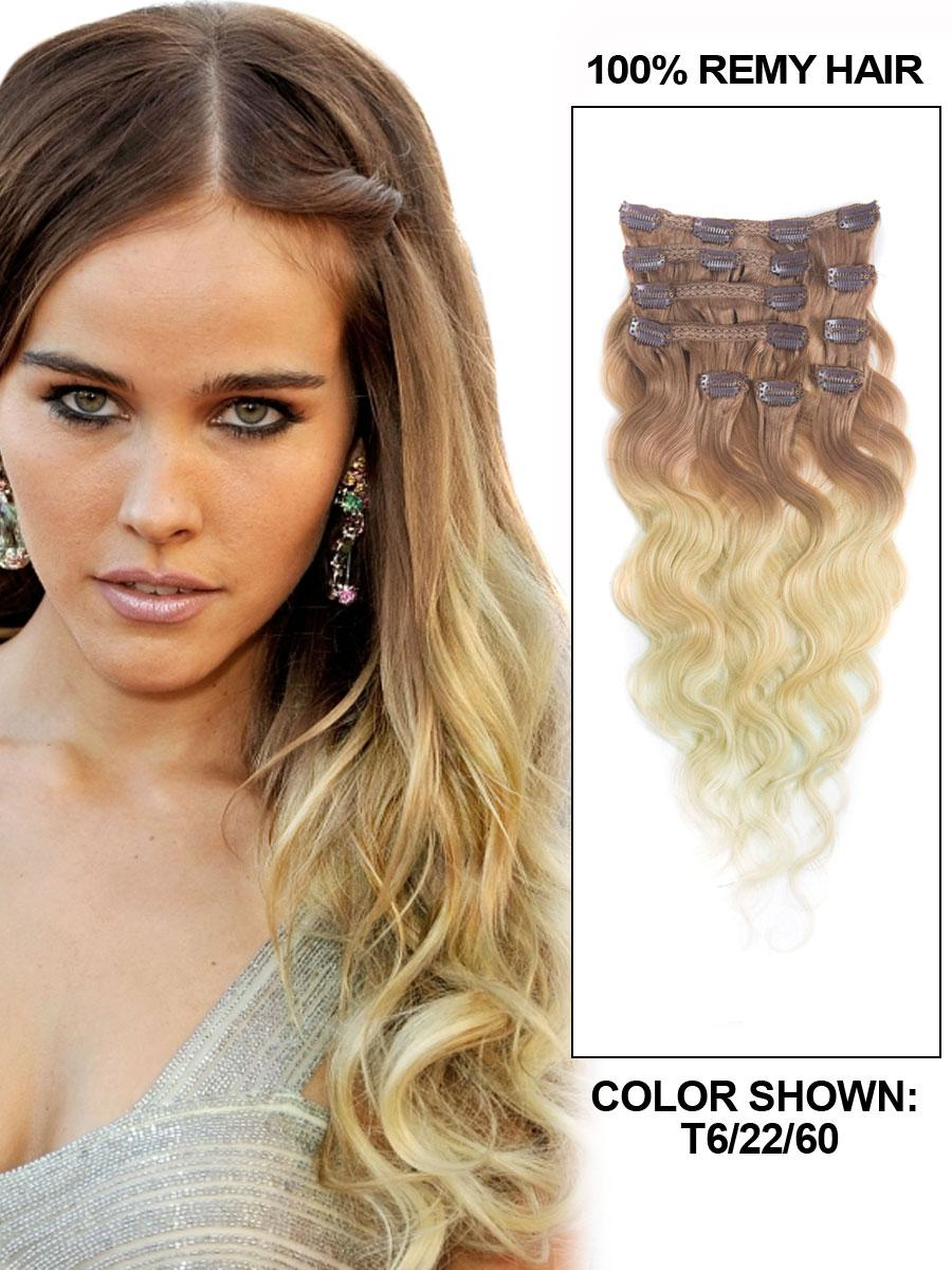 30 Inch Fancy Three Colors Ombre Clip In Indian Remy Hair Extensions