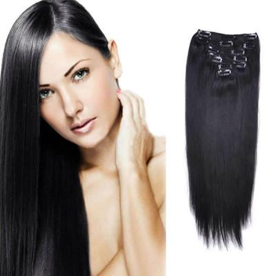 32 Inch #1 Jet Black Clip In Remy Human Hair Extensions 7pcs