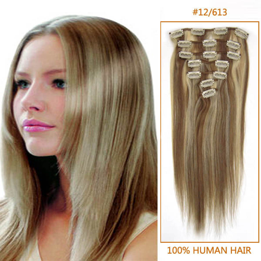 32 Inch 12613 Clip In Remy Human Hair Extensions 7pcs