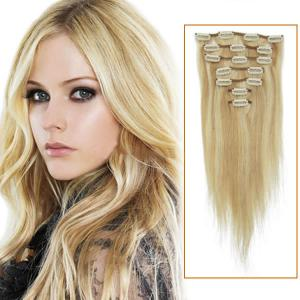 32 Inch #18/613 Blonde Highlight Clip In Remy Human Hair Extensions 7pcs