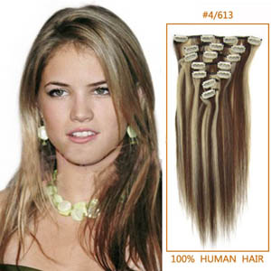 32 Inch #4/613 Clip In Remy Human Hair Extensions 12pcs