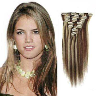 32 Inch #4/613 Clip In Remy Human Hair Extensions 9pcs