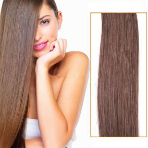 32 Inch #6 Light Brown Clip In Remy Human Hair Extensions 9pcs