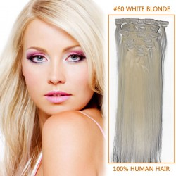 32 Inch #60 White Blonde Clip In Remy Human Hair Extensions 9pcs