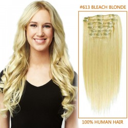 32 Inch #613 Bleach Blonde Clip In Human Hair Extensions 8pcs