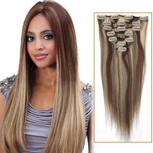 32 Inch #8/613 Brown/Blonde Clip In Remy Human Hair Extensions 9pcs