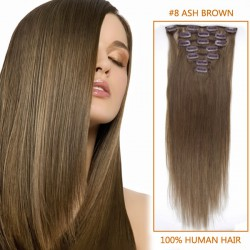 32 Inch #8 Ash Brown Clip In Remy Human Hair Extensions 12pcs