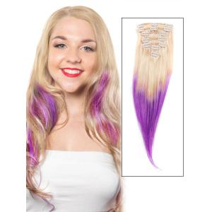 32 Inch Bleach Blonde and Purple Ombre Clip in Hair Extensions Two Tone Straight 9 Pieces