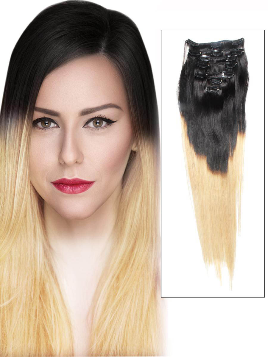 32 Inch Ombre Clip In Indian Remy Hair Extensions Two Tone Straight