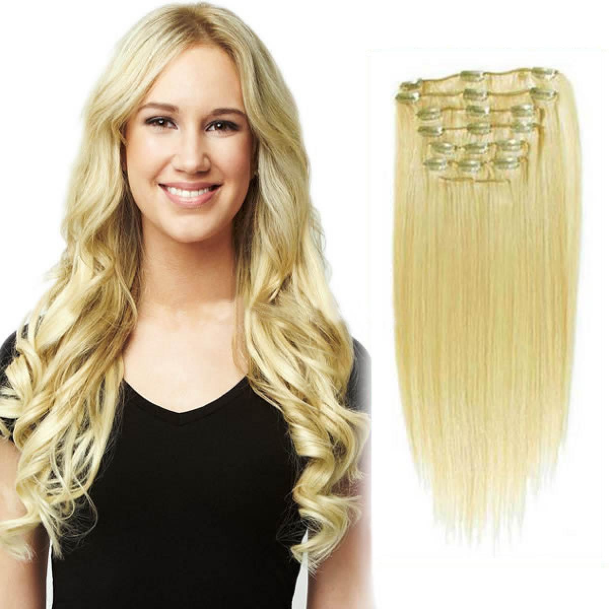 34 Inch 613 Bleach Blonde Clip In Human Hair Extensions 11pcs