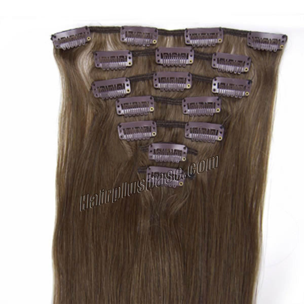 34 inch  8 ash brown clip in remy human hair extensions 7pcs 10818 0v