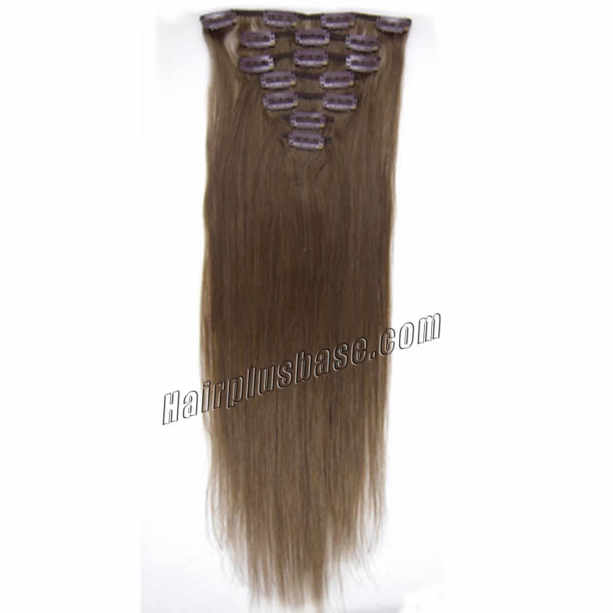 34 inch  8 ash brown clip in remy human hair extensions 7pcs 10818 1v