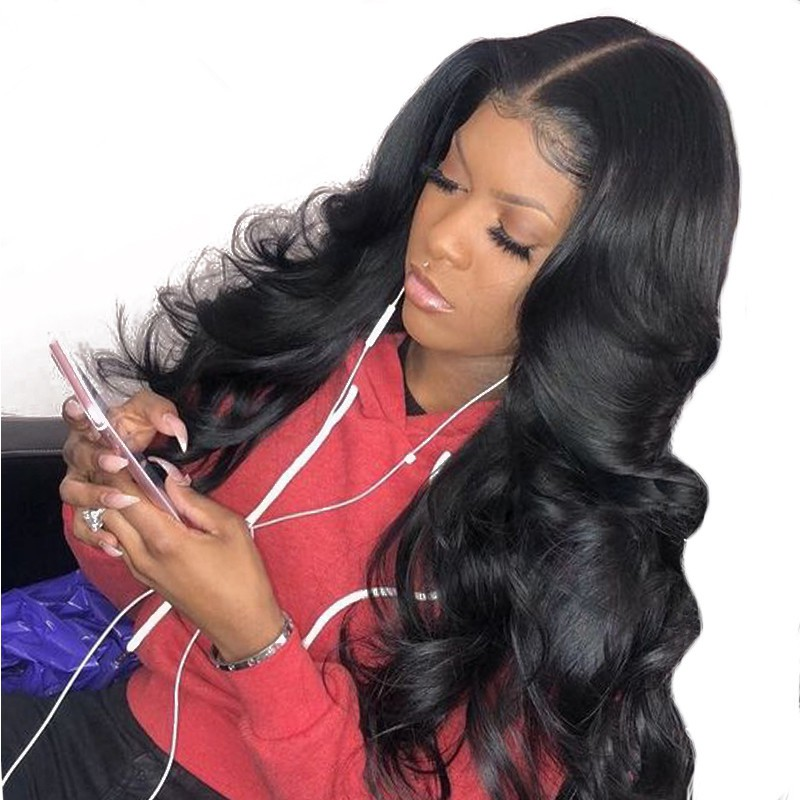 4.5 Inch Deep Part High Density Big Body Wave Lace Front Wigs 250% Density, Indian Remy Hair