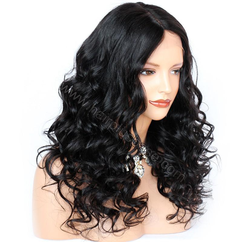 4.5 Inch Deep Part Wavy Lace Front Wigs Indian Remy Hair 5