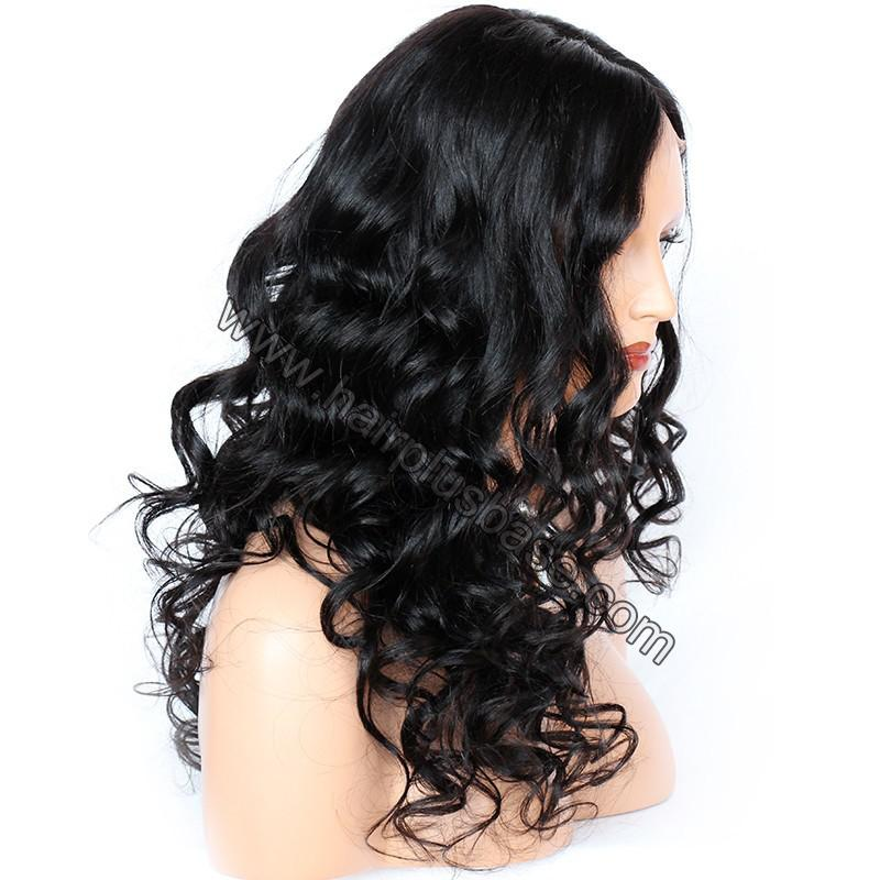 4.5 Inch Deep Part Wavy Lace Front Wigs Indian Remy Hair 6