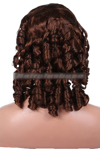 18 Inch Spiral Curl #4 Indian Remy Hair Clearance Glueless Lace Front Wigs
