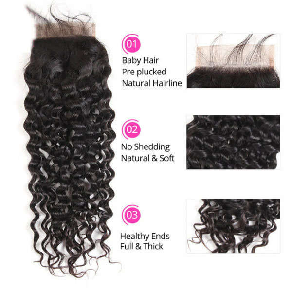 5x5 Size Closure Brazilian Natural Wave Hair Lace Frontal Closure For Sale 2